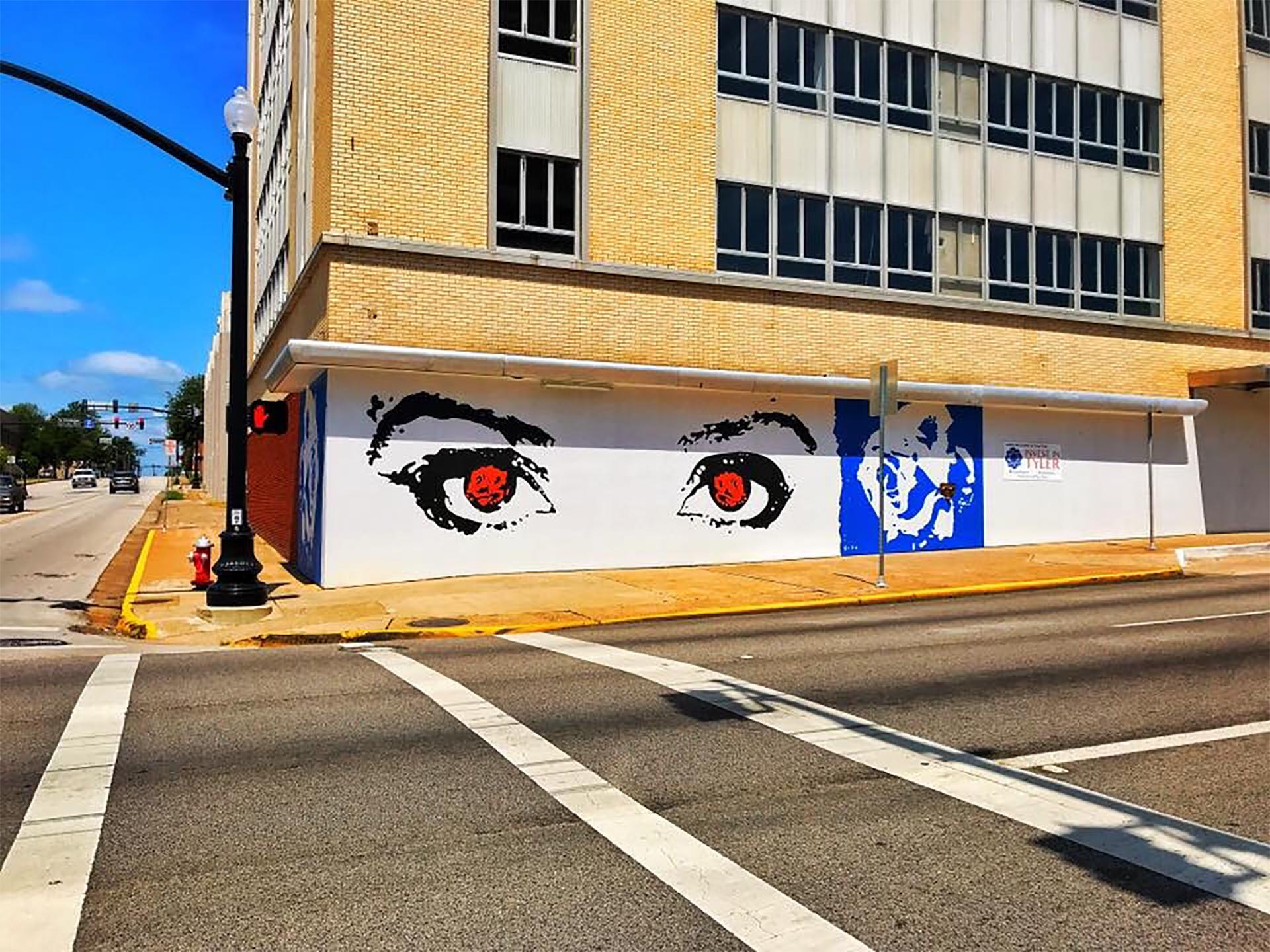 eyes mural - eyes of Tyler - rose mural - Dace Kidd - Mural Artist Tx