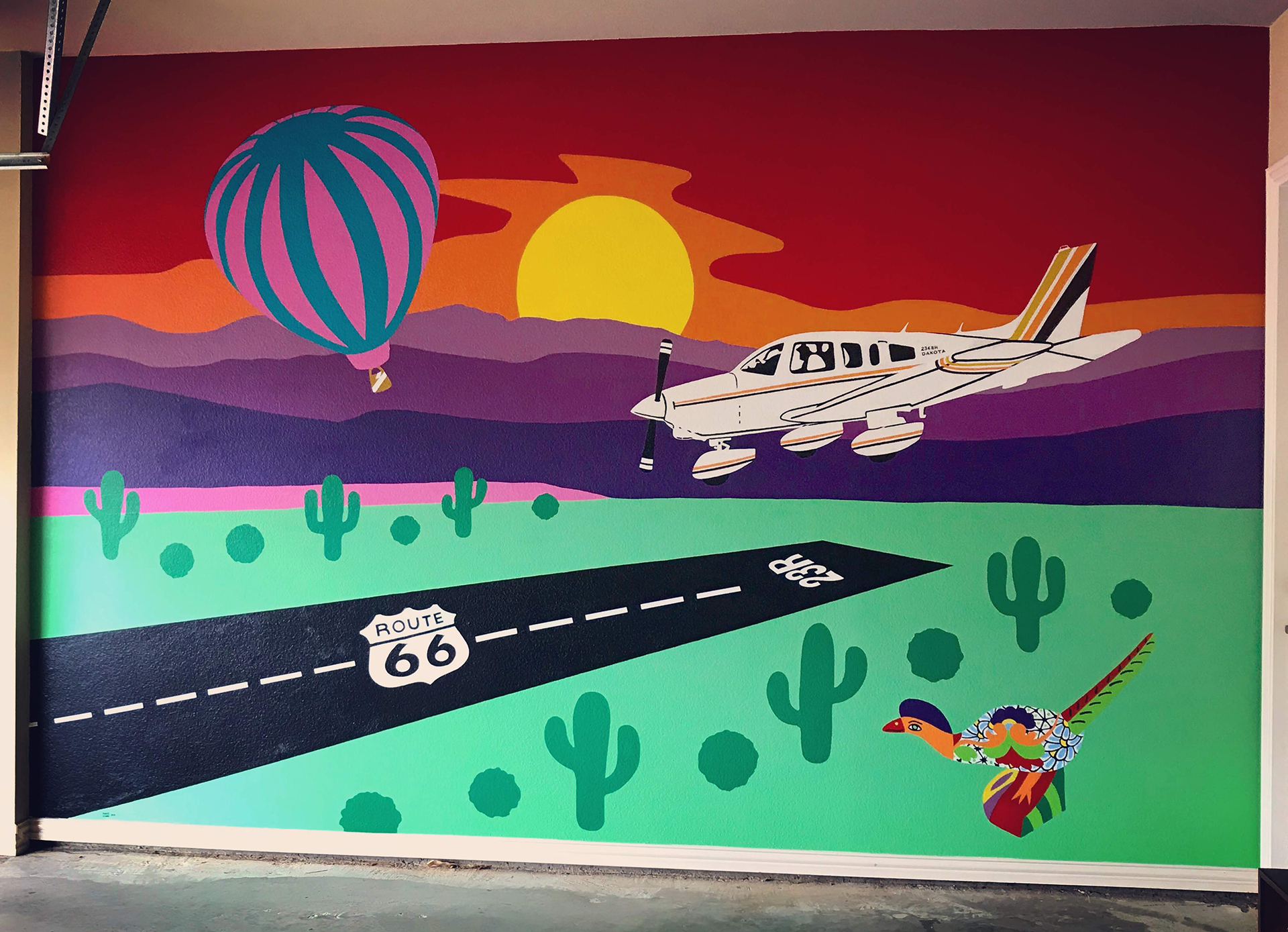 New Mexico, mural, plane, sunset, roadrunner, highway 66, hot air baloon