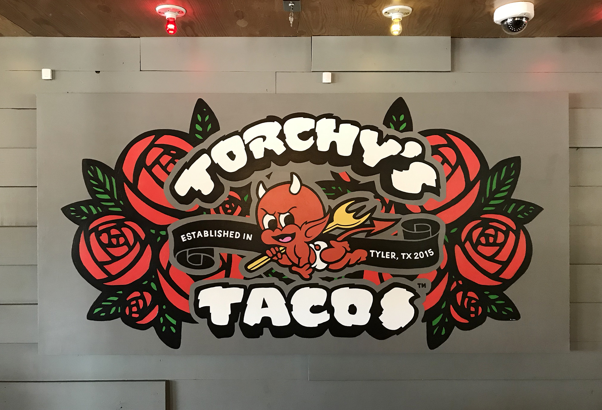 Torchy's Tacos - tacos - margaritas - window painting - Dace Kidd - Mural Artist Tx