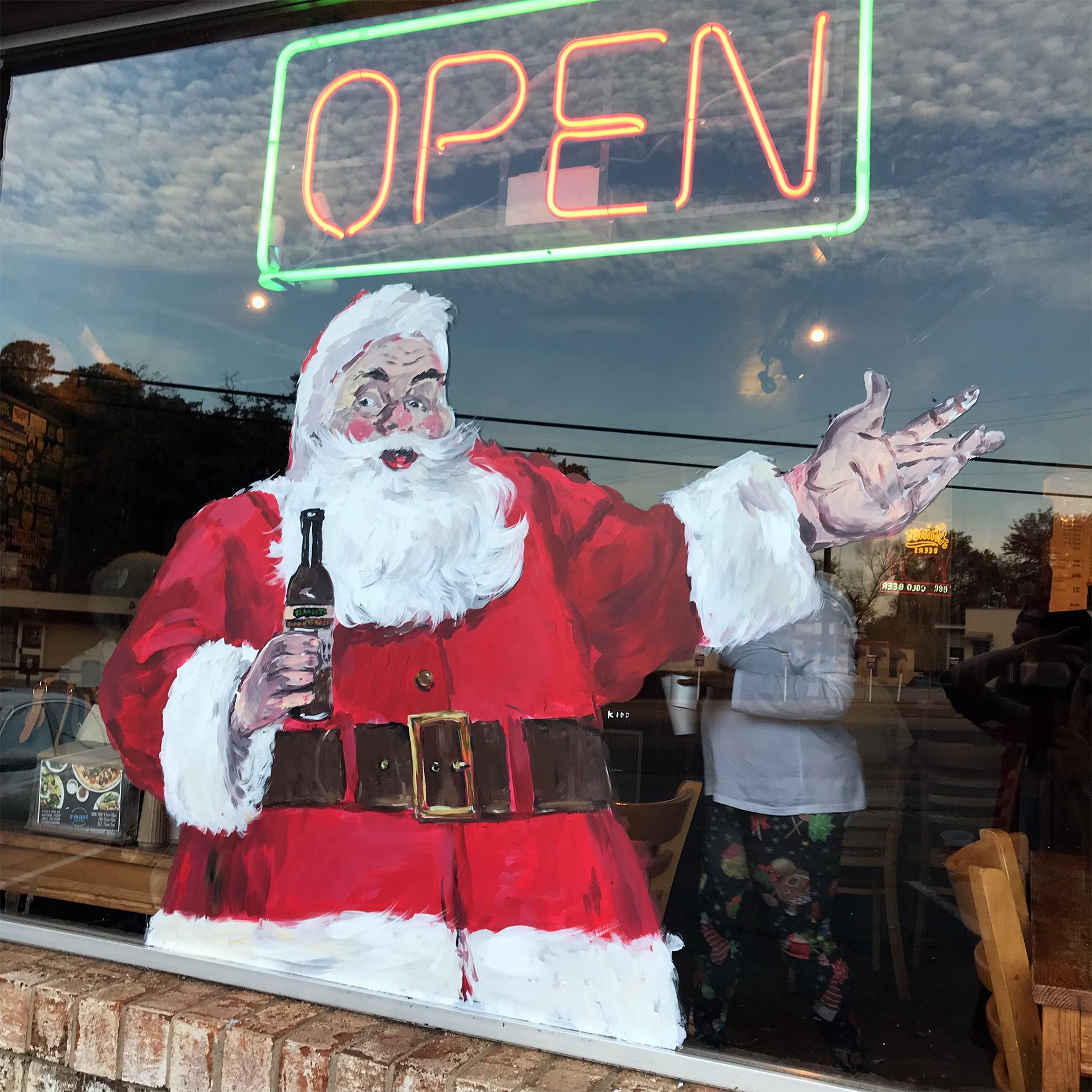 Santa - Santa window painting - window painting - Dace Kidd - Mural Artist Tx