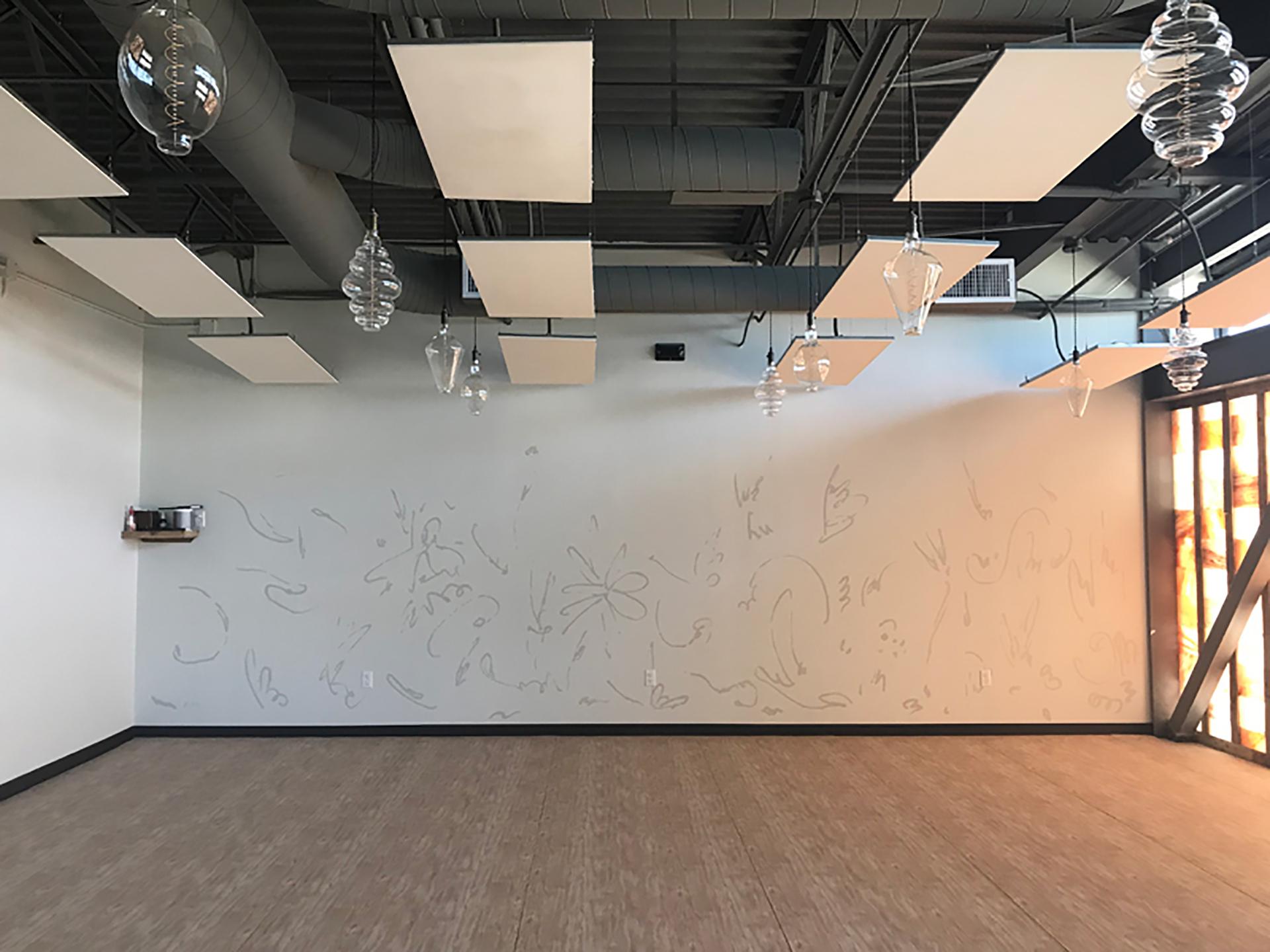 yoga mural - calm mural - custom mural - mural - Dace Kidd - Mural Artist Tx