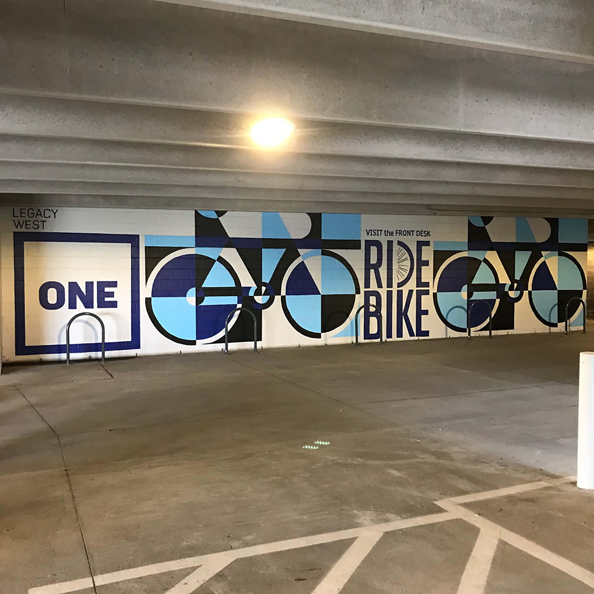 ride bike - cycling mural - sign mural - hand lettering - custom mural - mural - Dace Kidd - Mural Artist Tx