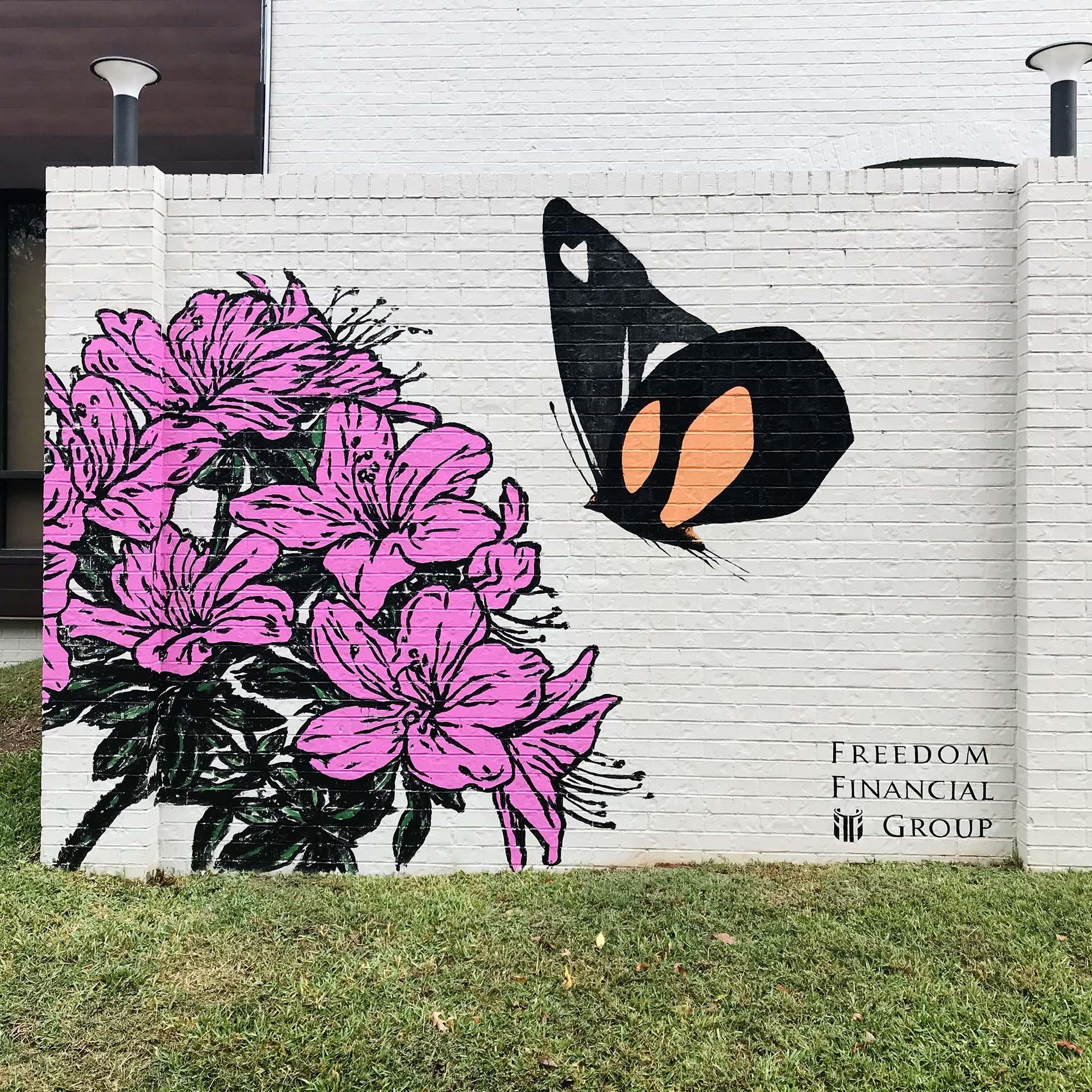 azalea mural - butterfly mural - custom mural - mural - Dace Kidd - Mural Artist Tx