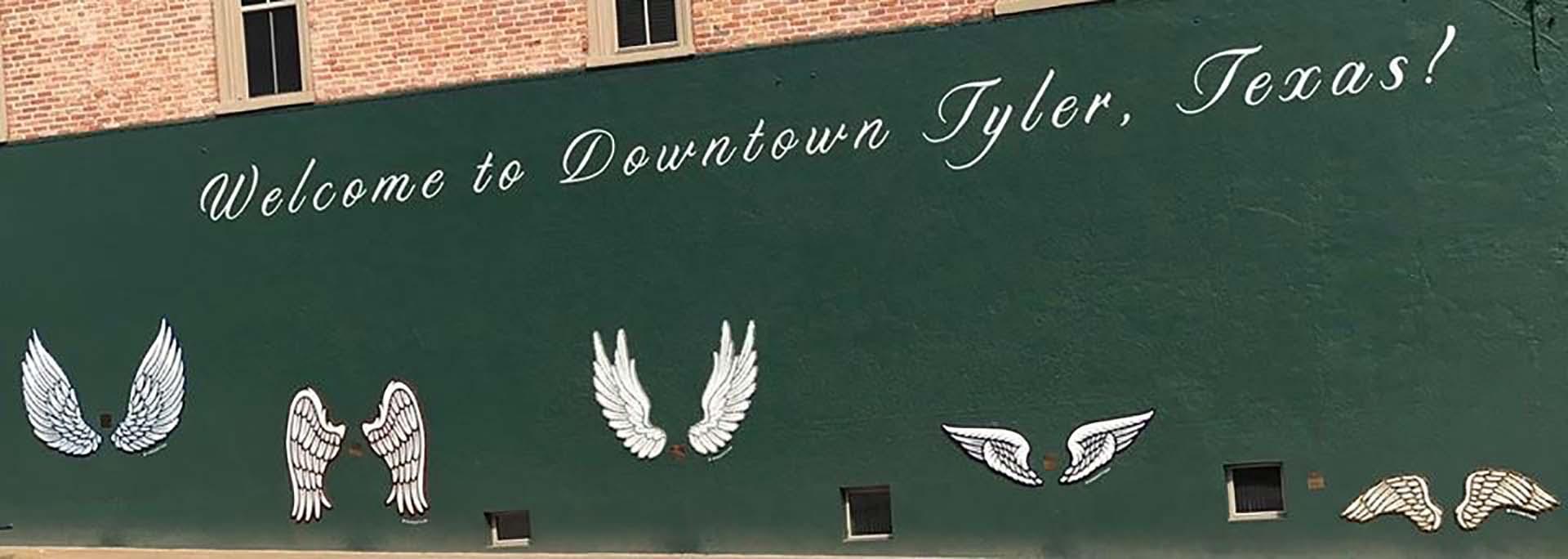 wings mural - wings of Tyler - custom mural - mural - Dace Kidd - Mural Artist Tx