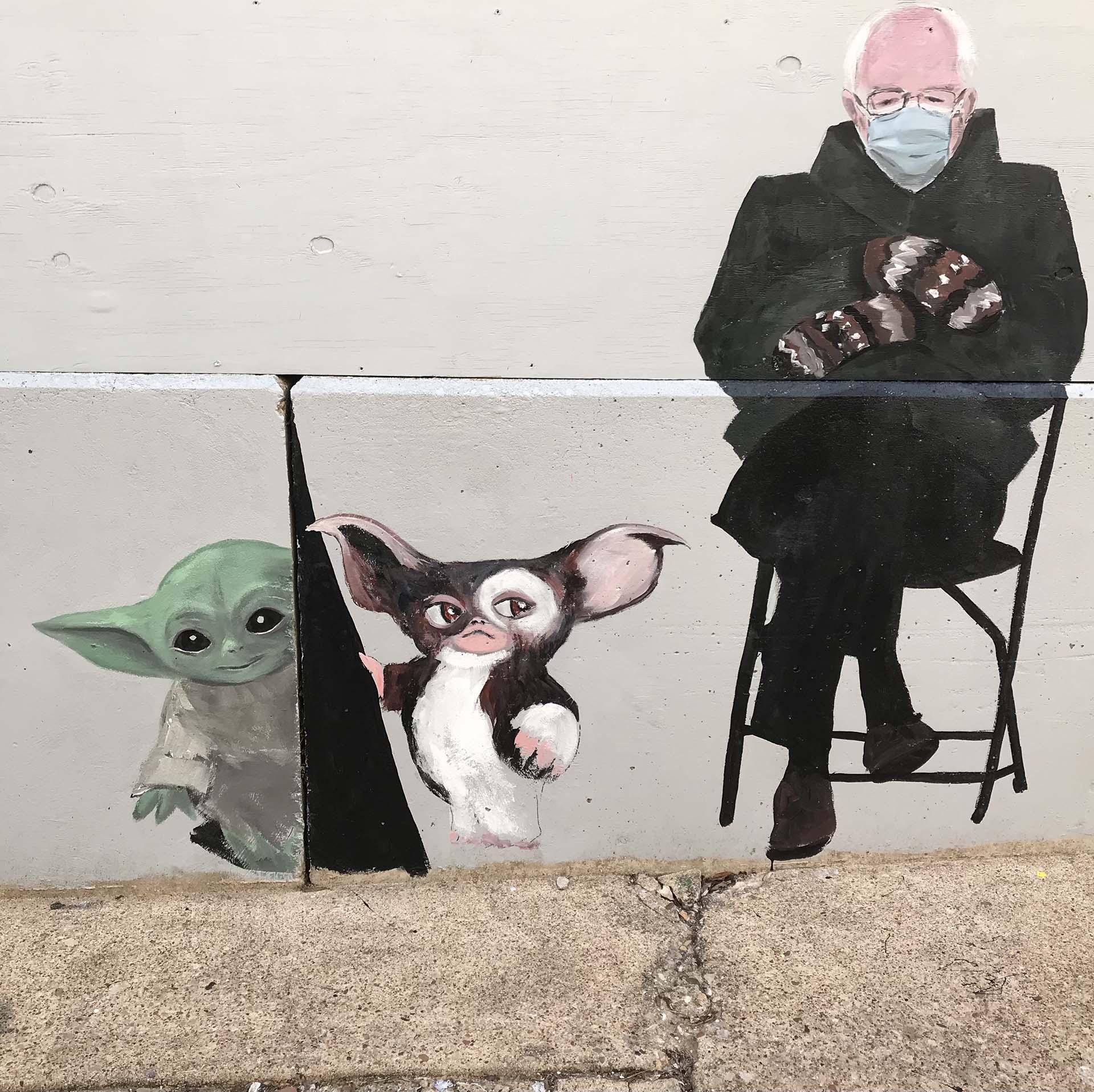Bernie - gizmo - baby Yoda - sign mural - hand lettering - custom mural - mural - Dace Kidd - Mural Artist Tx