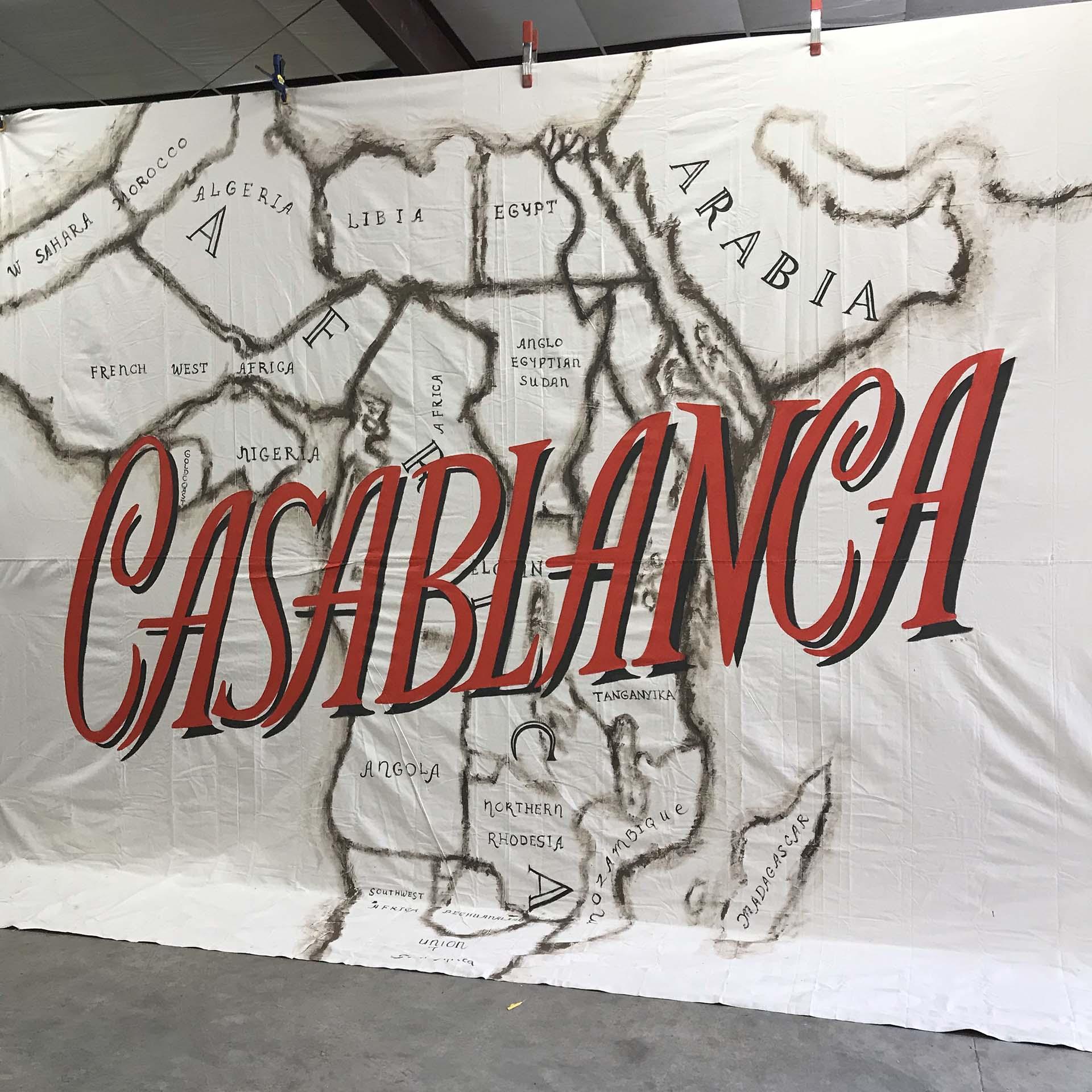 Casablanca - map mural - sign mural - map mural - hand lettering - custom mural - mural - Dace Kidd - Mural Artist Tx