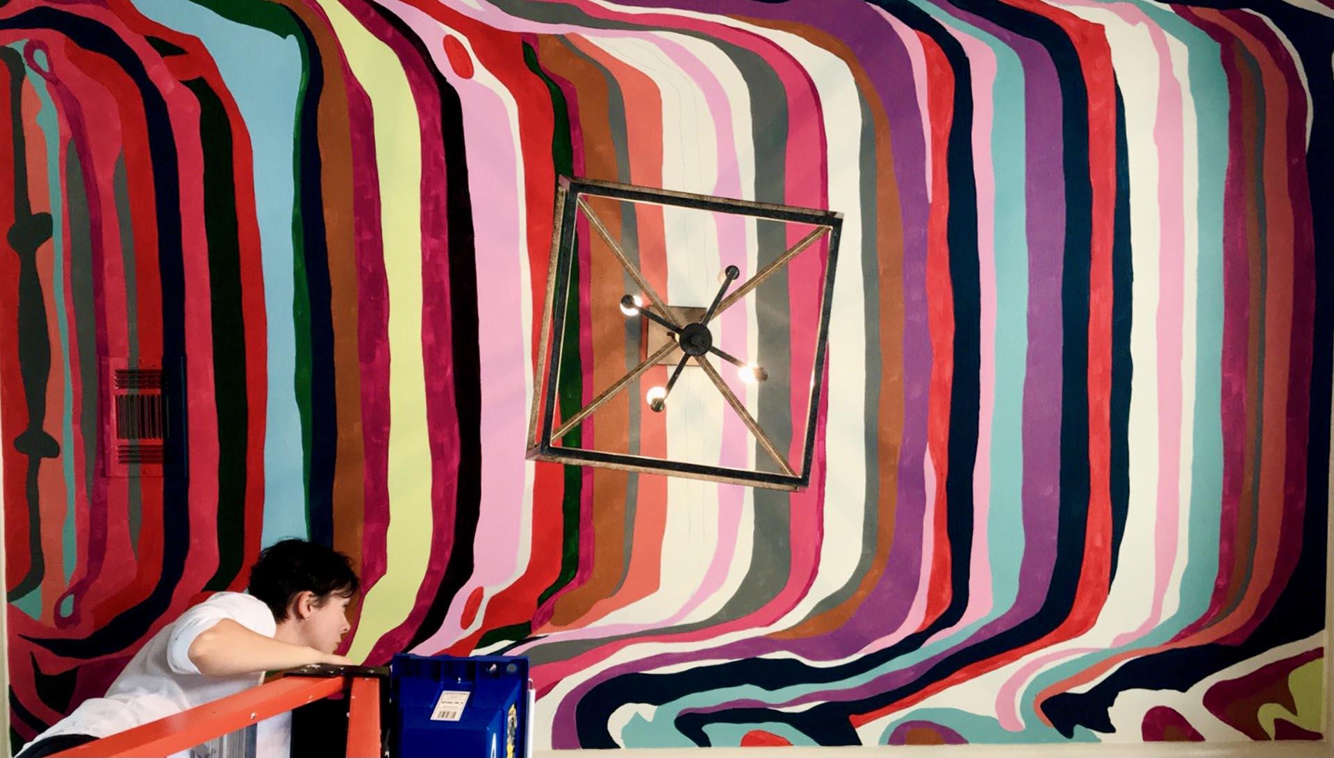 ceiling mural - abstract mural - custom mural - mural - Dace Kidd - Mural Artist Tx
