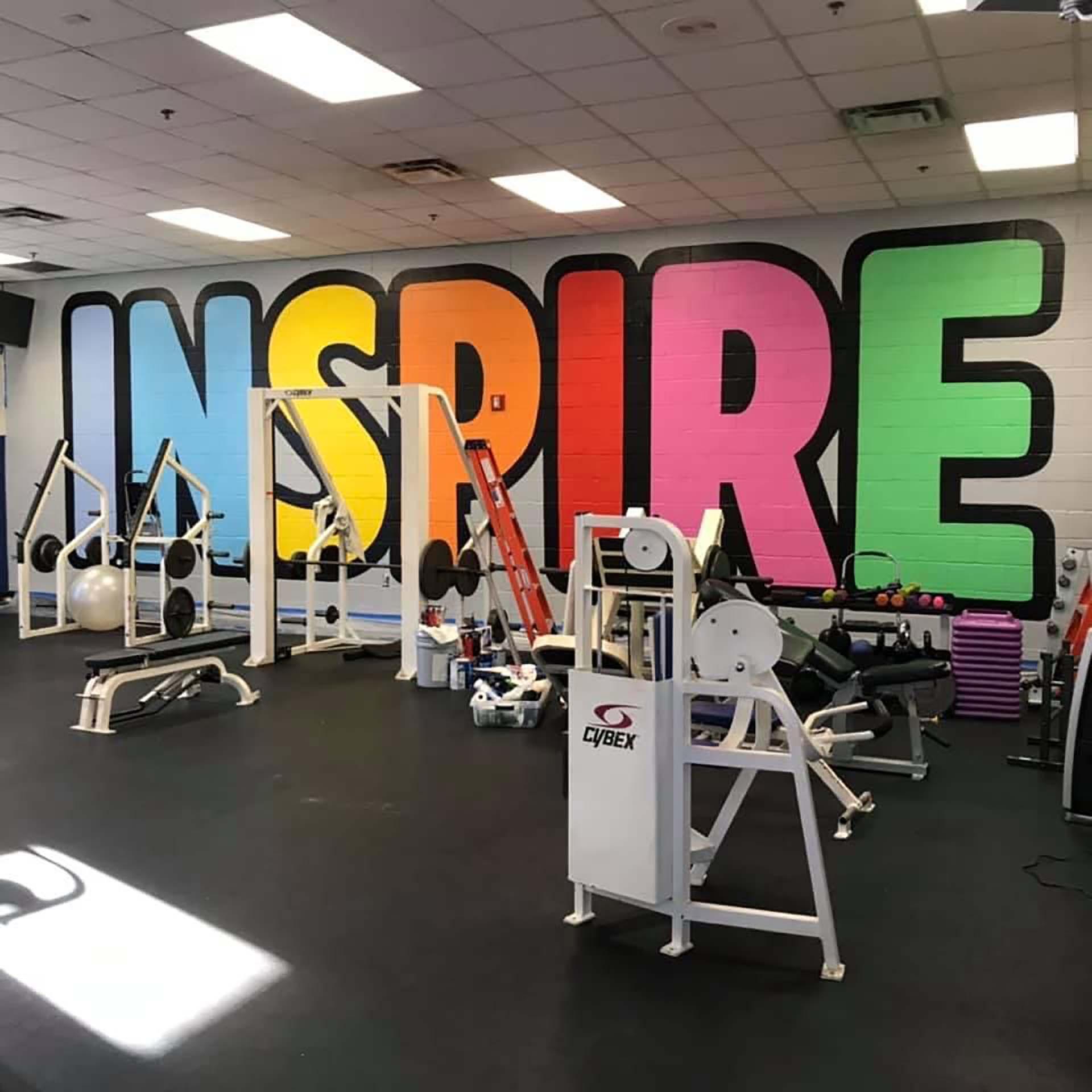 gym mural - sign mural - hand lettering - custom mural - mural - Dace Kidd - Mural Artist Tx