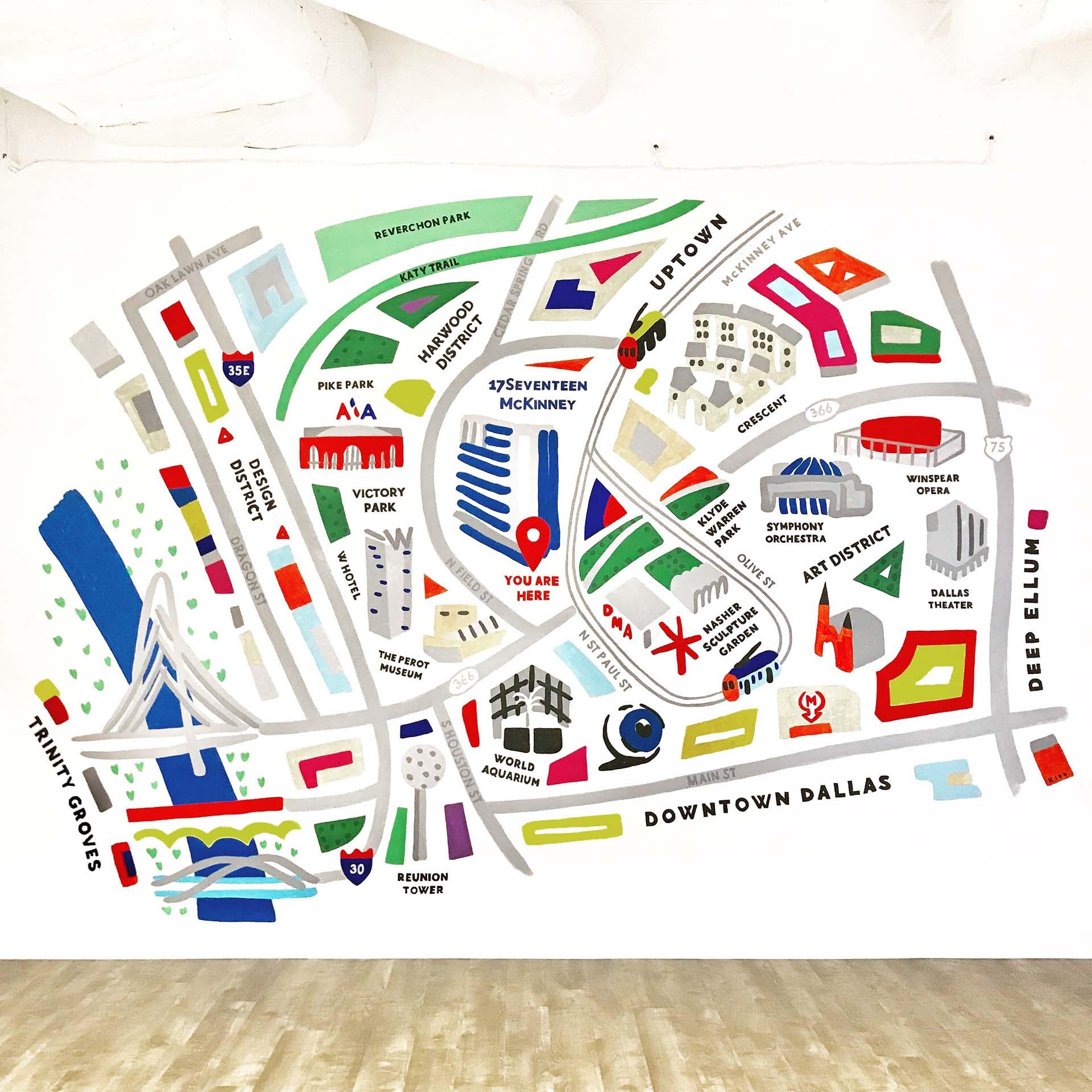 map mural - Dallas map - stylized map - custom mural - hand lettering - custom mural - mural - Dace Kidd - Mural Artist Tx