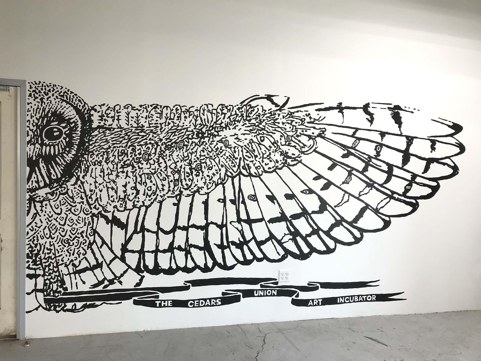 owl - black and white mural - cedars union - sign mural - hand lettering - custom mural - mural - Dace Kidd - Mural Artist Tx