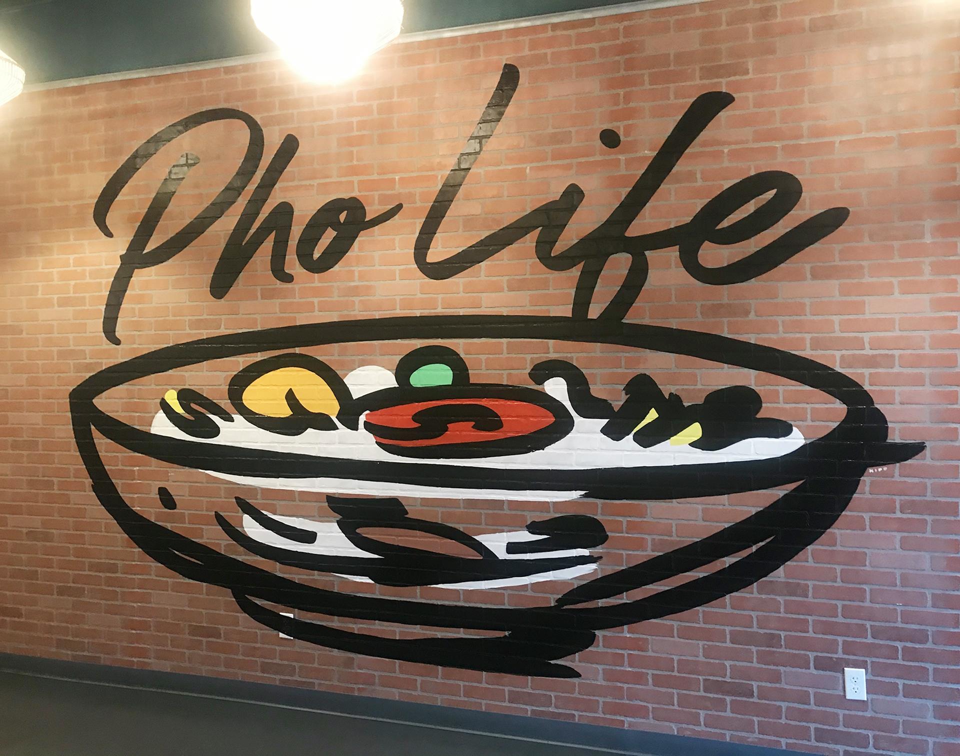 restaurant mural - sign mural - hand lettering - custom mural - mural - Dace Kidd - Mural Artist Tx