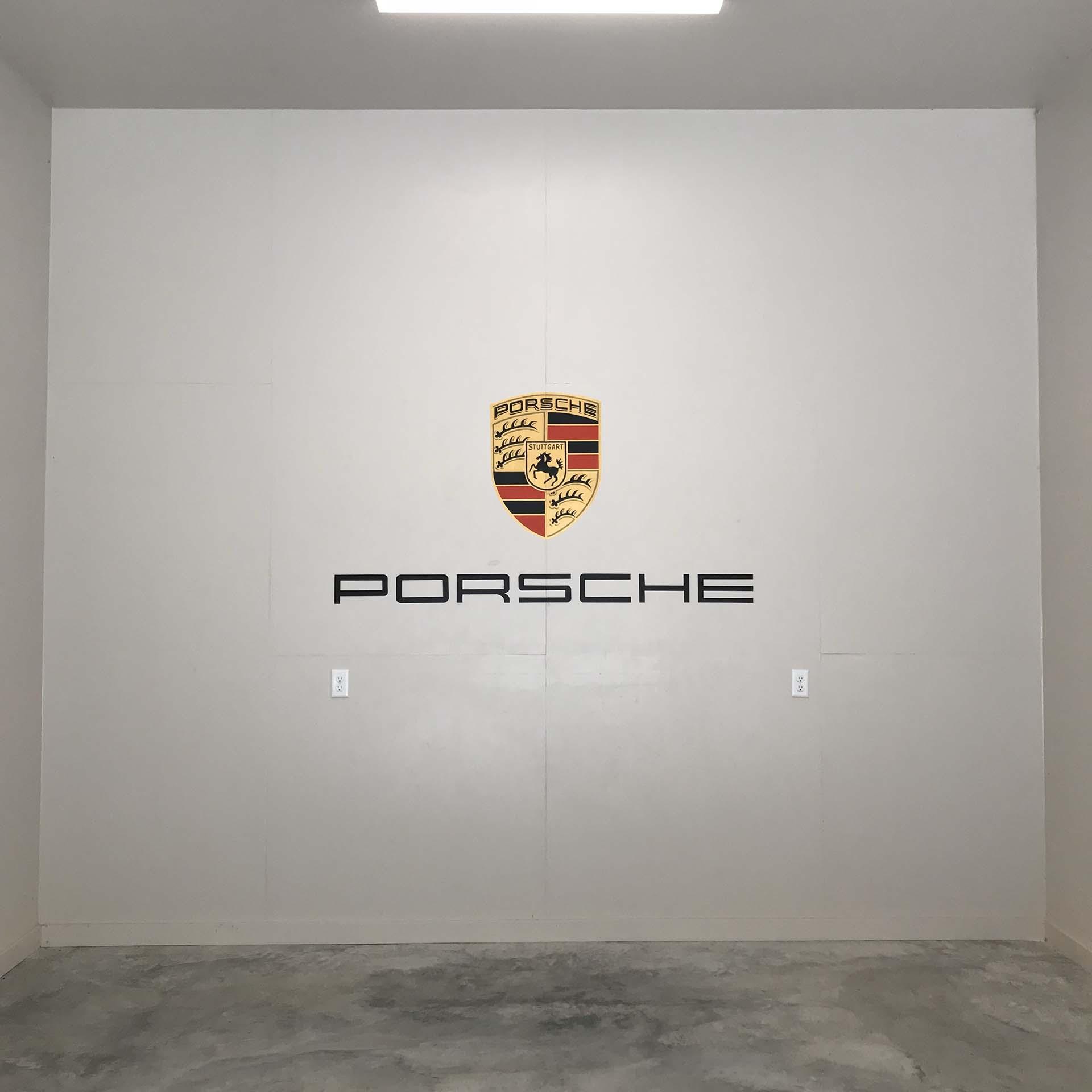sign mural - Porsche emblem mural - hand lettering - custom mural - mural - Dace Kidd - Mural Artist Tx