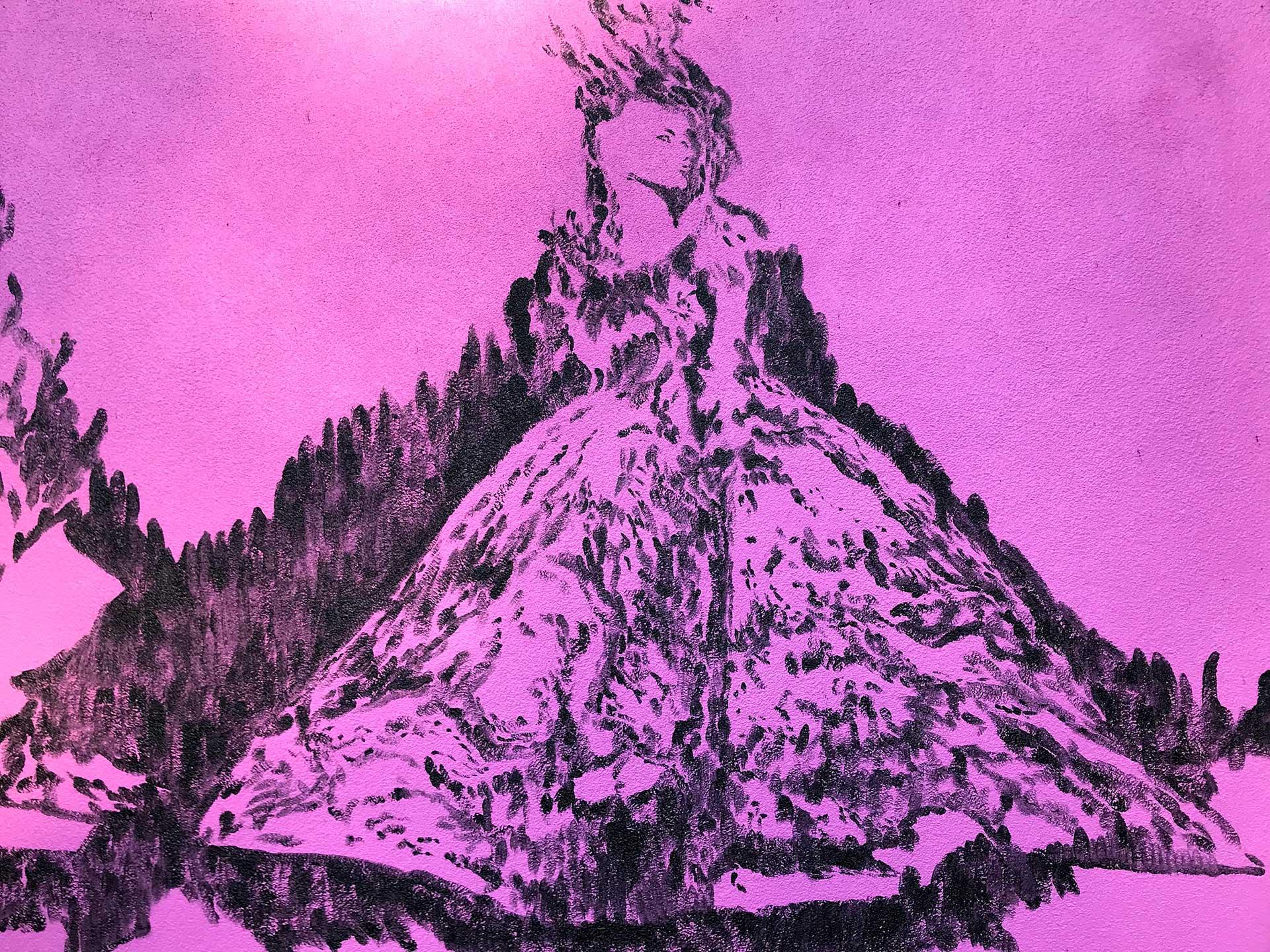 pink mural - queen mural - custom mural - mural - Dace Kidd - Mural Artist Tx