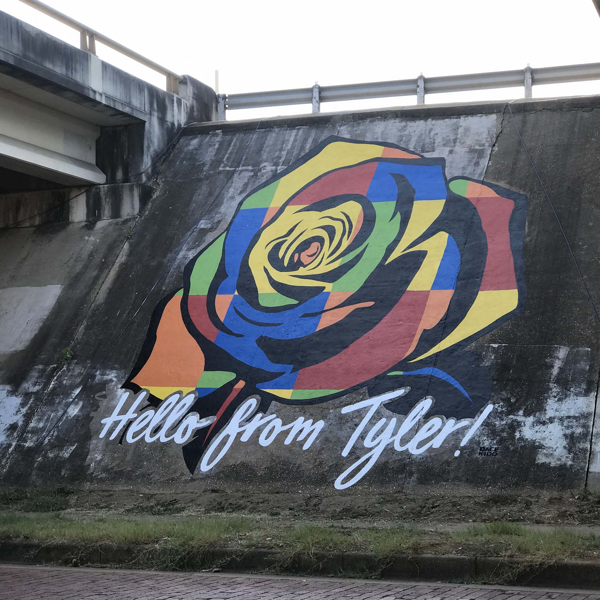 Hello I love you - rose - lettering mural - Dace Kidd - Mural Artist Tx- window painting - Dace Kidd - Mural Artist Tx