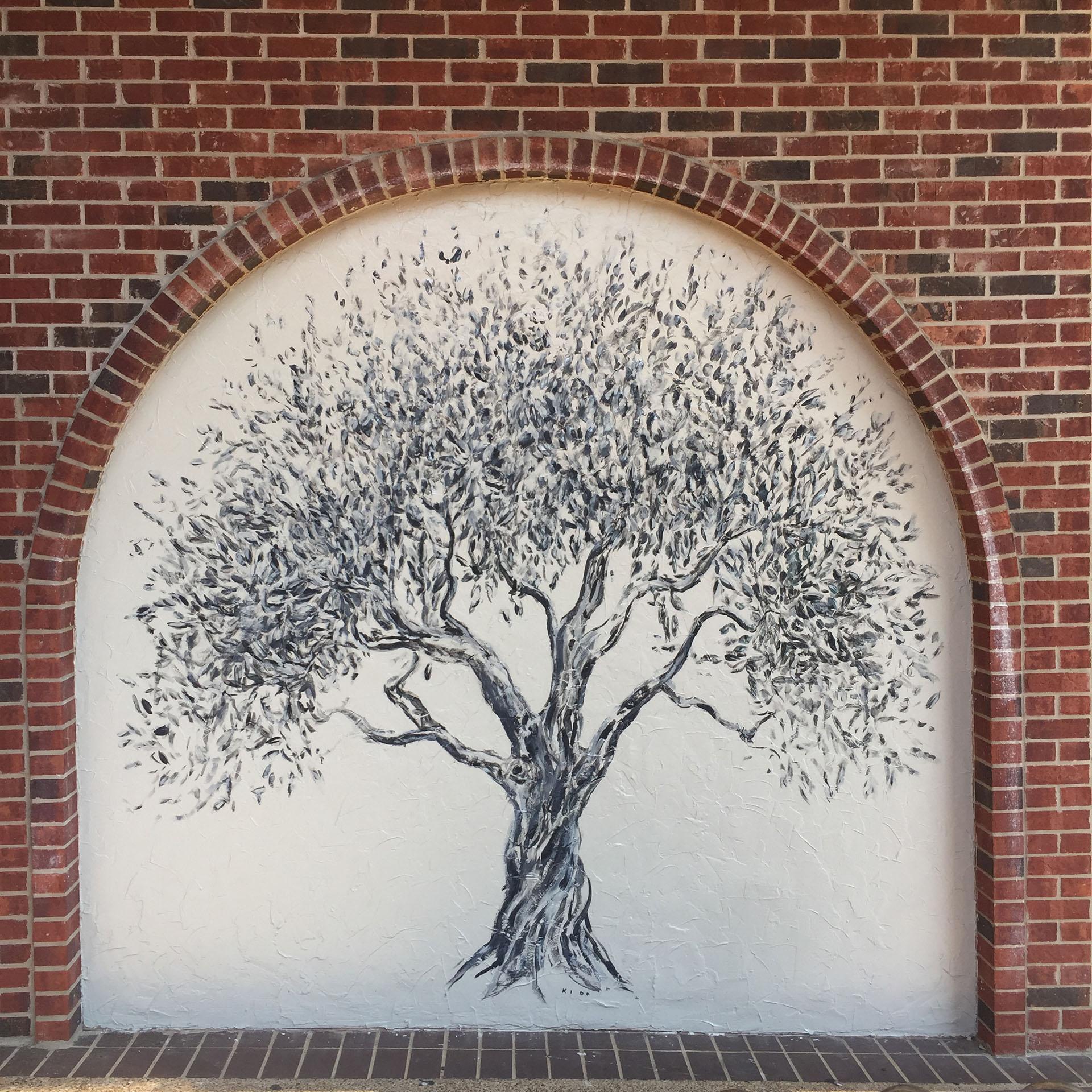 olive tree - tree mural - custom mural - mural - Dace Kidd - Mural Artist Tx