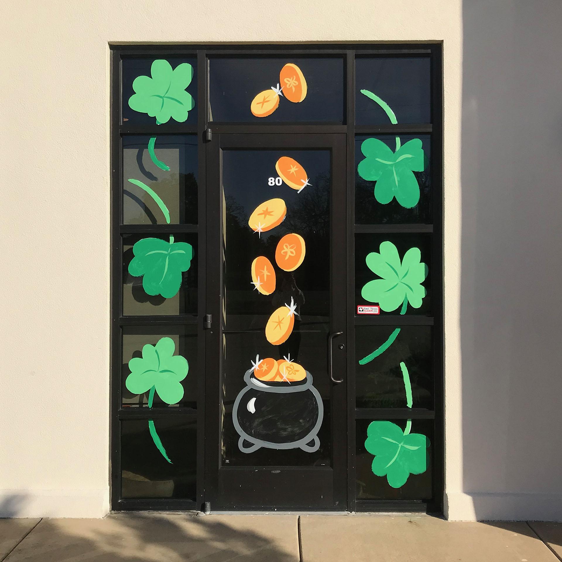 st Patrick - window painting - Dace Kidd - Mural Artist Tx