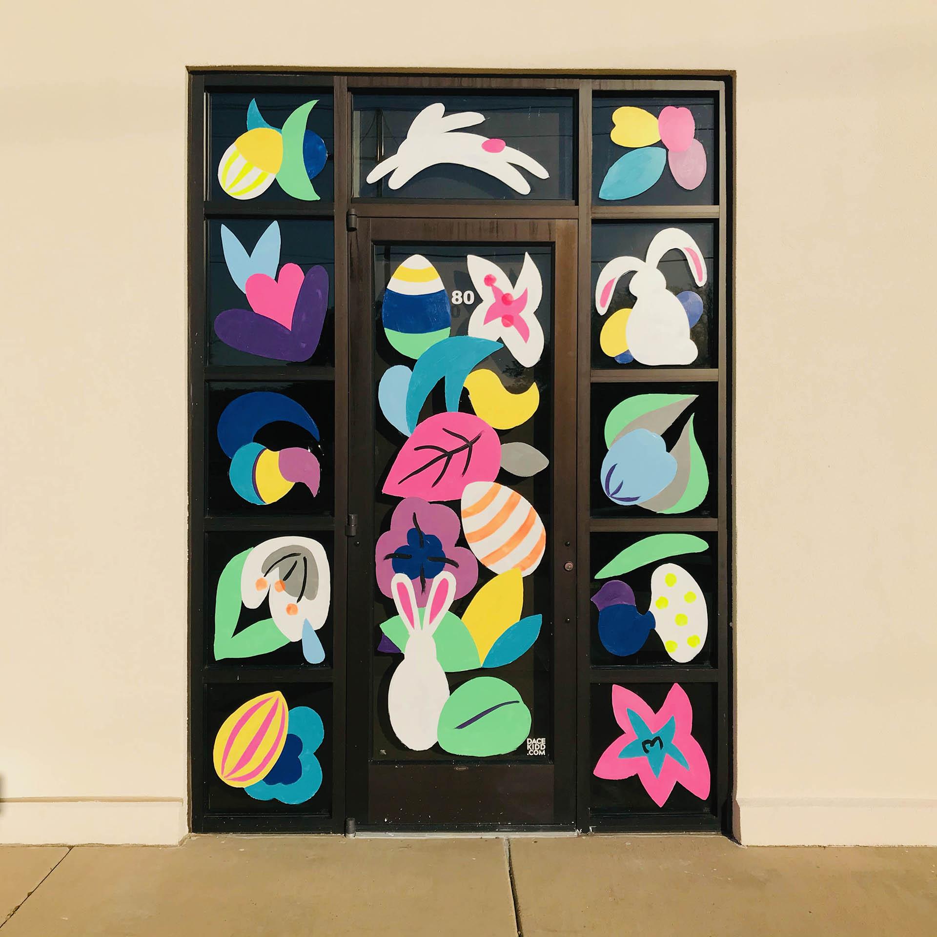 spring - window painting - Dace Kidd - Mural Artist Tx