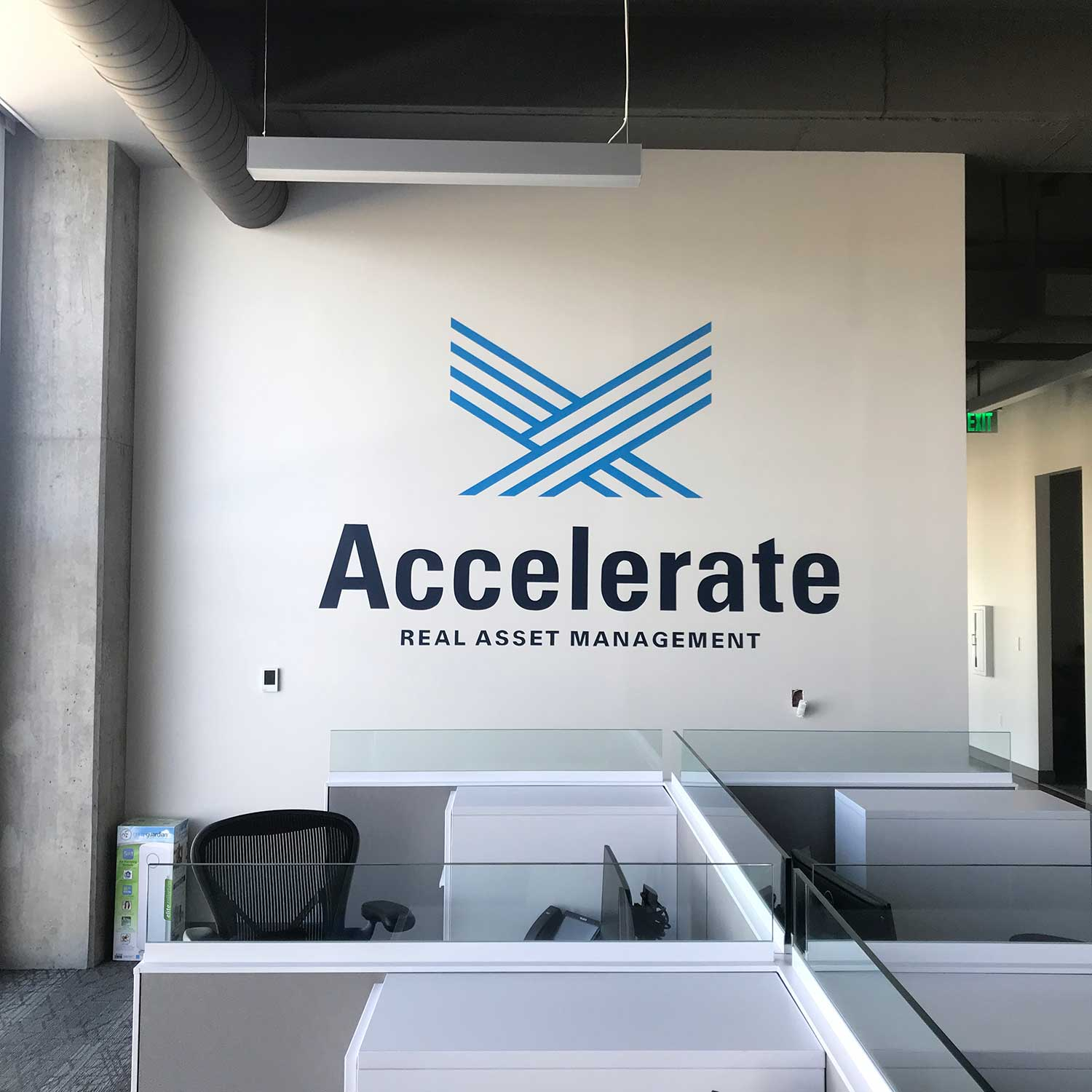 Accelerate Investments - mural - hand-painted lettering - lettering mural - logo painting - Dace Kidd - Mural Artist Tx