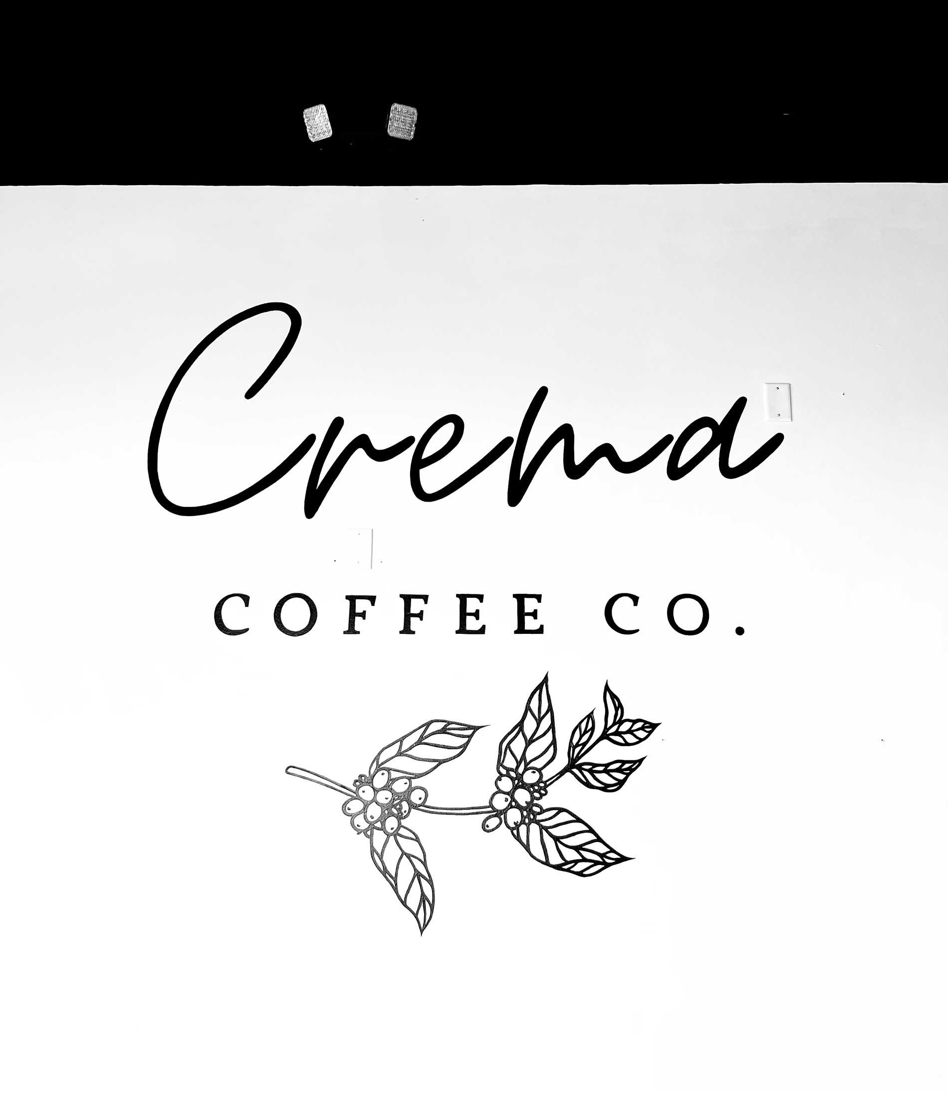 Crema coffee co - mural - logo painting - Dace Kidd - Mural Artist Tx